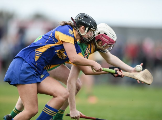 Newmarket's Niki Kaiser in action against Inagh-Kilnamona's Clare Hehir during the Mc Mahon Senior Camogie cup final at Clarecastle. Photograph by John Kelly.