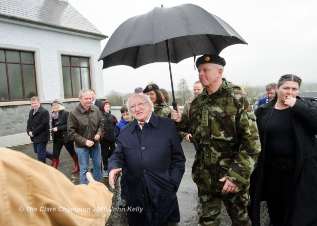 President Michael D Higgins meeting locals during his visit to Labane to meet the victims of flooding in the area. Photograph by John Kelly.