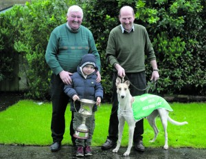 Owner Sean Doyle, Roslevan, Ennis, with his grandson, Sean and trainer, Paddy Marrinan and Oaks contender Pardon Me Boys. Photograph by John Kelly
