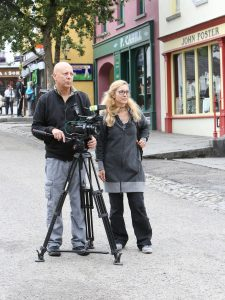 Leonardo Capodarte (cameraman) and Simona Tiziano (producer), filming for an episode of Geo & Geo, at Bunratty Castle & Folk Park.