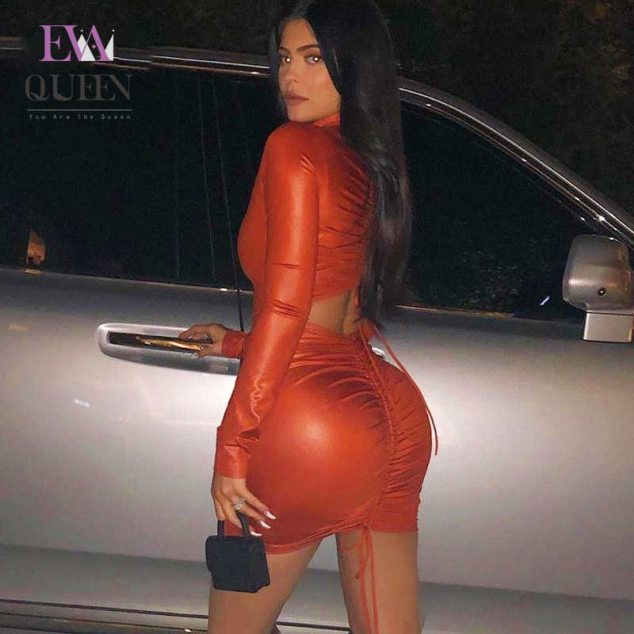 Tight Red Dress Sexy Kylie Jenner