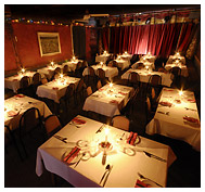 The Clarendon's dining room and stage