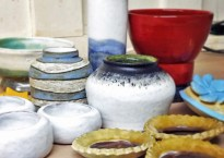 These lovely pots were made by students in Eskimo Blue's Lytton Road workshop
