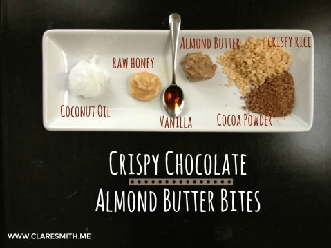 Crispy Chocolate Almond Butter Bites : www.claresmith.me