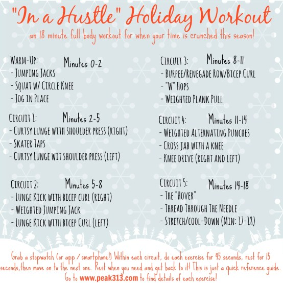"""In a Hustle"" Holiday Workout: www.claresmith.me"