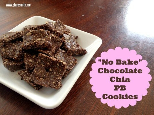 """No Bake"" Chocolate Chia PB  Cookies: www.claresmith.me"