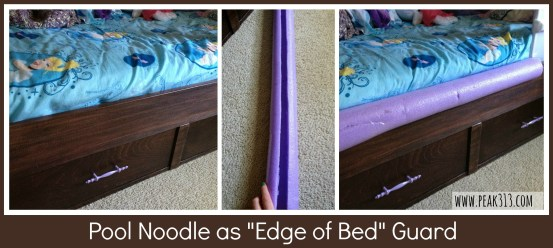 "Pool Noodle as ""Edge of Bed"" Guard  : peak313.com"