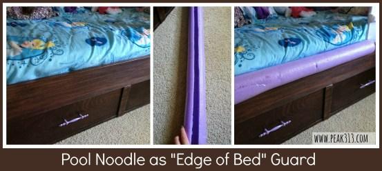 "Pool Noodle as ""Edge of Bed"" Guard  : peak313.com"