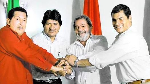 CRECER JUNTOS. PRESIDENTES MUJICA, FERNANDEZ, DA SILVA, LUGO Y MORALES.