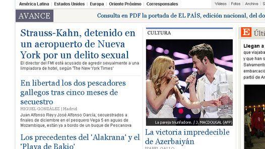 ESCANDALO. El arresto de  Strauss-Kahn, en la portada del diario El País, de España.