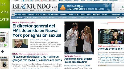 ESCANDALO. El arresto de  Strauss-Kahn, en la portada del diario El Mundo, de España.