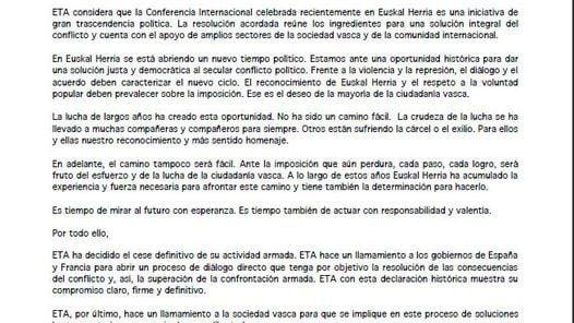 El comunicado de la organización separatista, ETA.