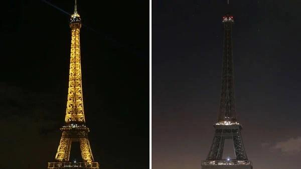La Torre Eiffel se apagó por las víctimas del atentado contra Charlie Hebdo / AFP