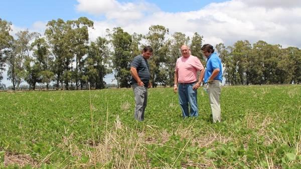 Darío Moyano (derecha) conversa con productores en Vicuña Mackenna.