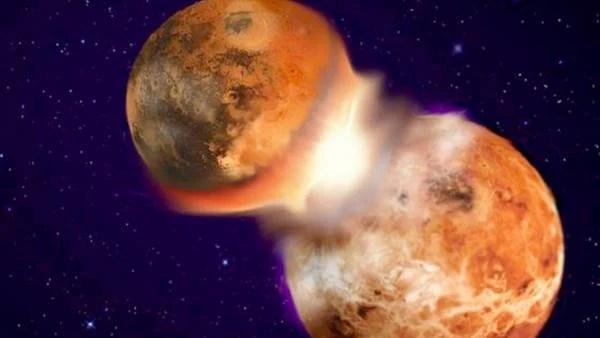 Ilustración de la colisión entre planetas.