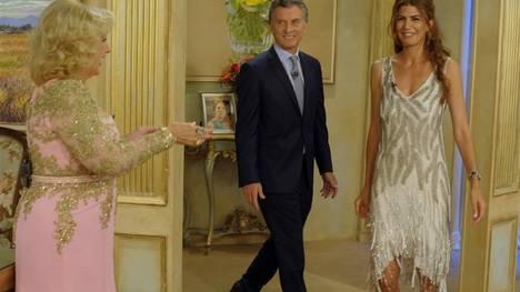 Mirta Legrand recibe al presidente electo Mauricio Macri y a Juliana Awada.