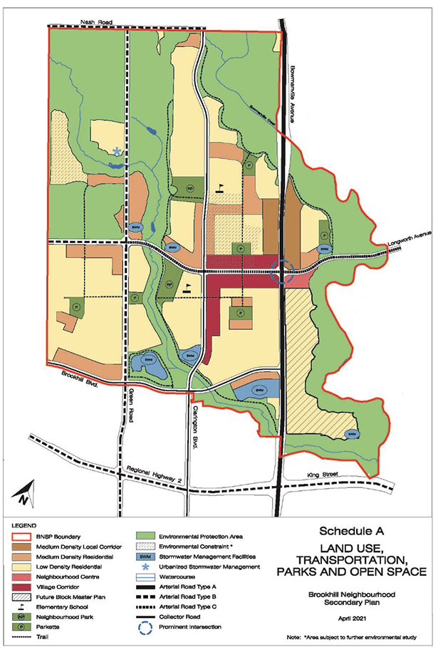 Land Use Map of Brookhill Secondary Plan
