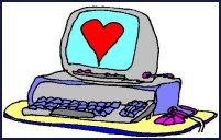 Computer with a heart on the screen