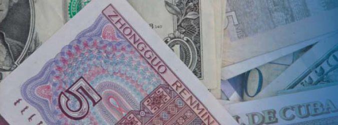 Geldnote Renminbi auf Dollar