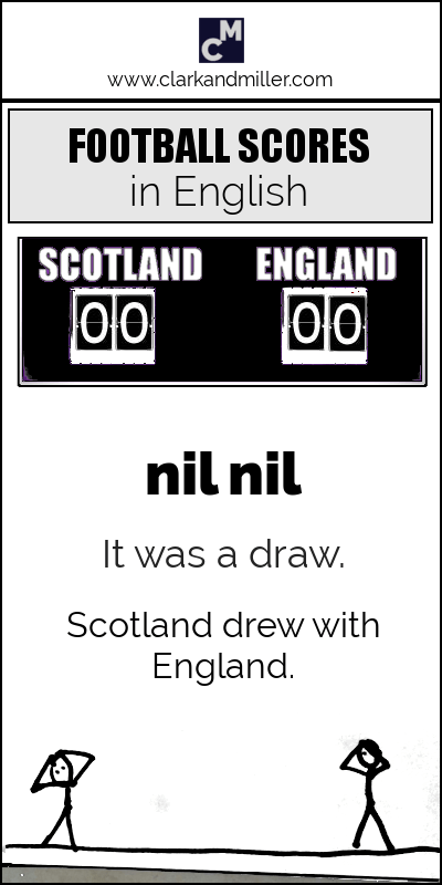 How to say football scores in English: nil nil / It was a draw. / Scotland drew with England.