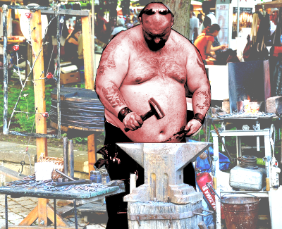 Overweight man with hammer