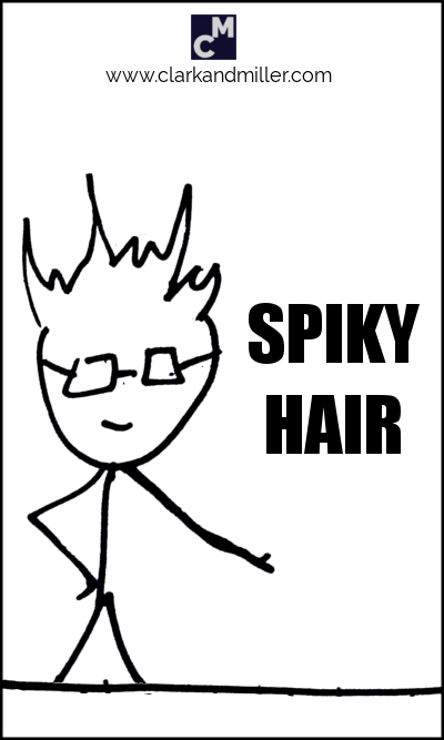 Stick figure with spiky hair