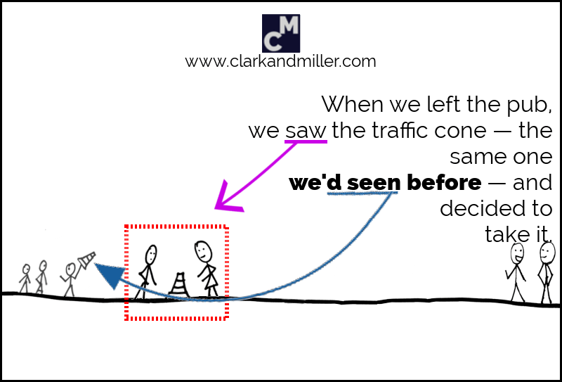 When we left the pub, we saw the traffic cone -- the same one we'd seen before -- and decided to take it.