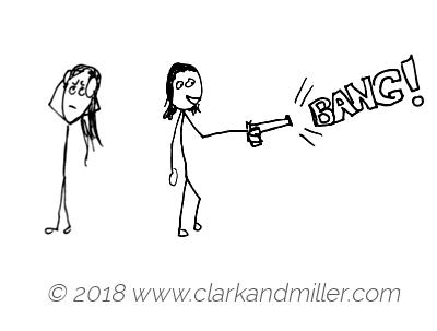 Bang: a woman shooting a gun