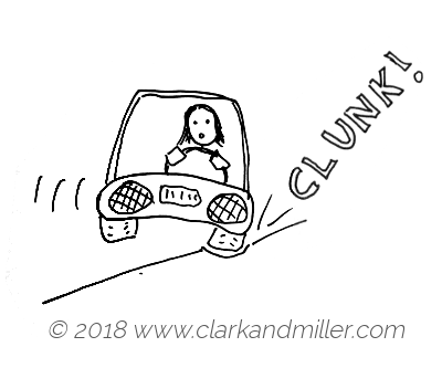 Clunk: a woman driving over a pothole