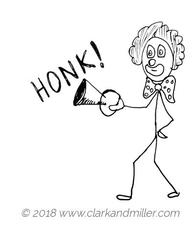 Honk: a clown with a horn
