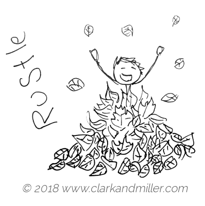 Rustle: a boy playing in a pile of leaves