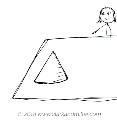 Stick figure woman with a cone