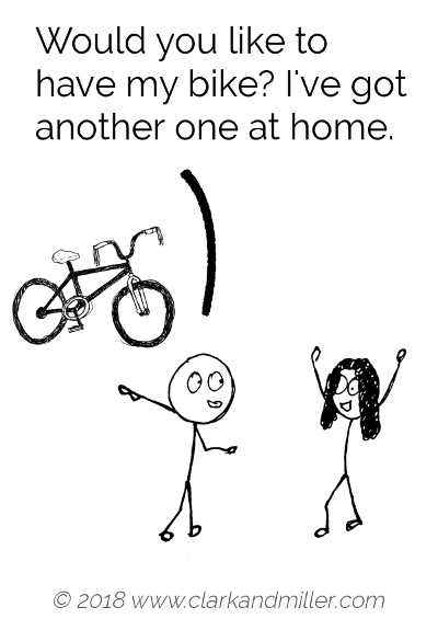 Offer example comic: Would you like to have my bike? I've got another one at home.