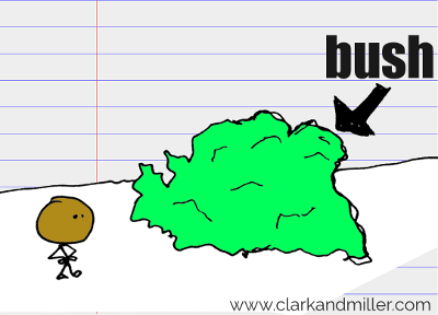 bush drawing with text