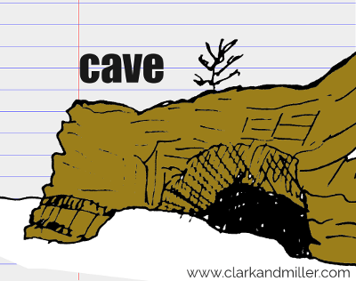 cave drawing with text