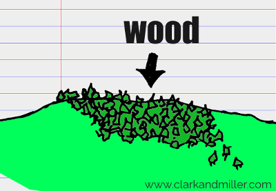 wood drawing with text