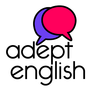 Adept English Podcast Logo: Pink and purple speech bubbles with the text Adept English underneath