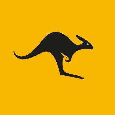 Canguro English Podcast Logo: Black kangaroo symbol on a yellow background