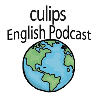 Culips English Podcast Logo: Black text above a simple, blue and green drawing of Earth
