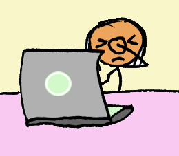 Stick figure in front of a laptop doing a face palm