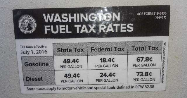 Presently, the Washington state gas tax is 67.8 cents per gallon, the fourth highest in the nation. The House proposal if enacted, would raise that to nearly $1 per gallon. Photo by Ken Vance