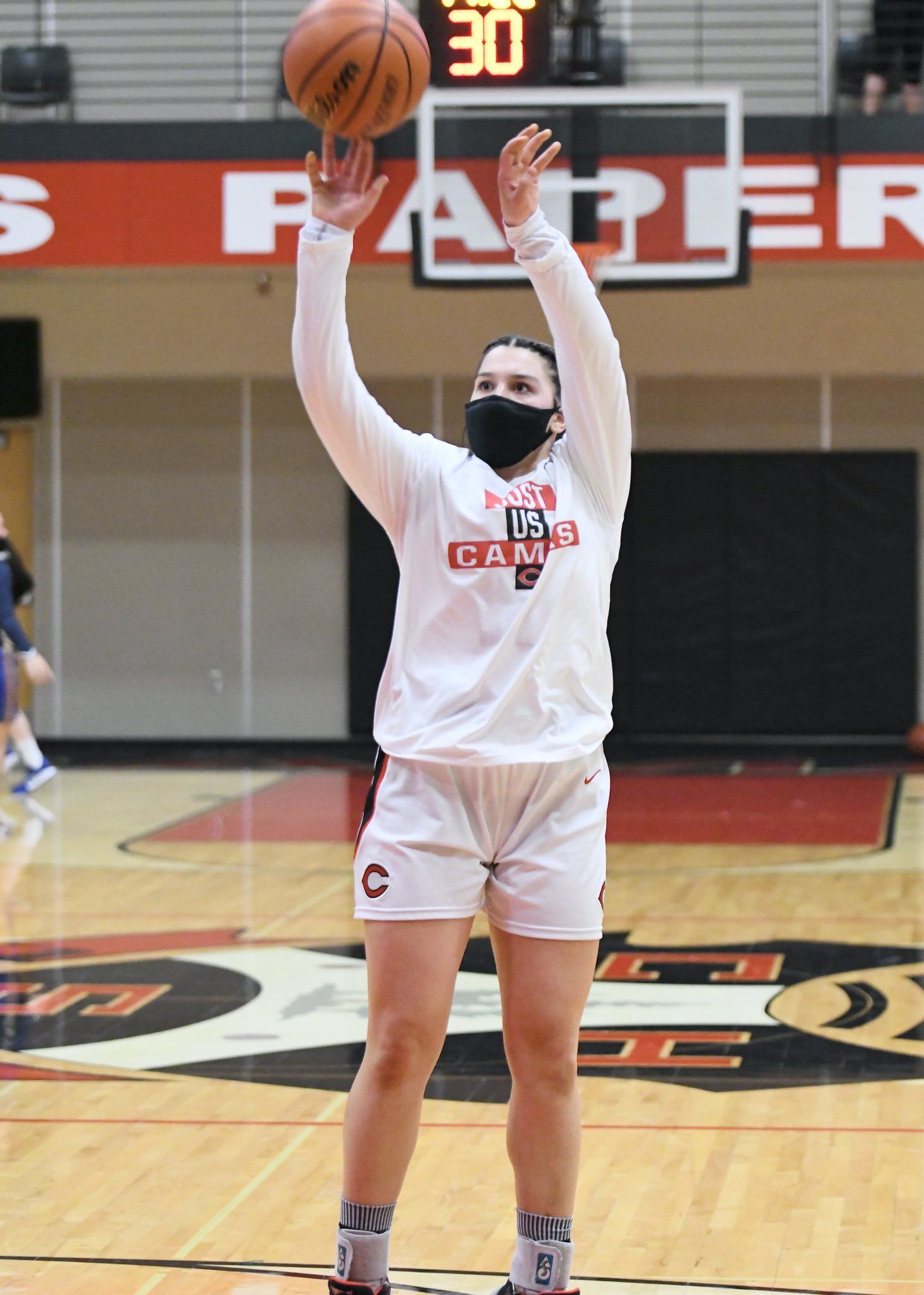 Camas senior Katelynn Forner, featured here in warm-ups earlier this season, had four straight 3-point games in the first quarter on Friday night against rival Union.  Photo courtesy Kris Cavin