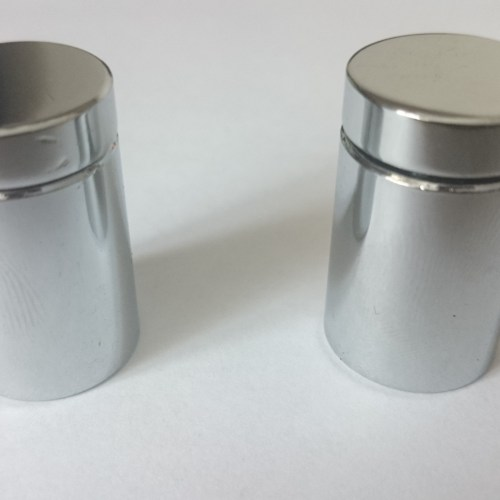 CHROME PLATED ALUMINUM SIGN FITTING BOLTS - 19mm dia x 25mm