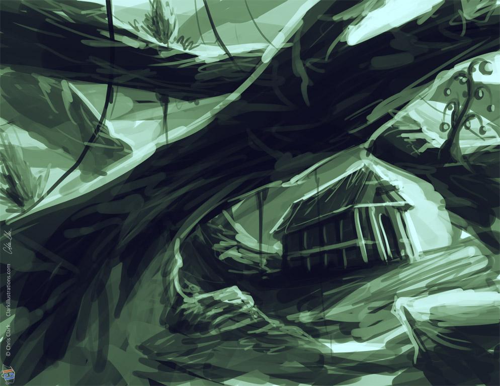 Solitary Hut Sketch