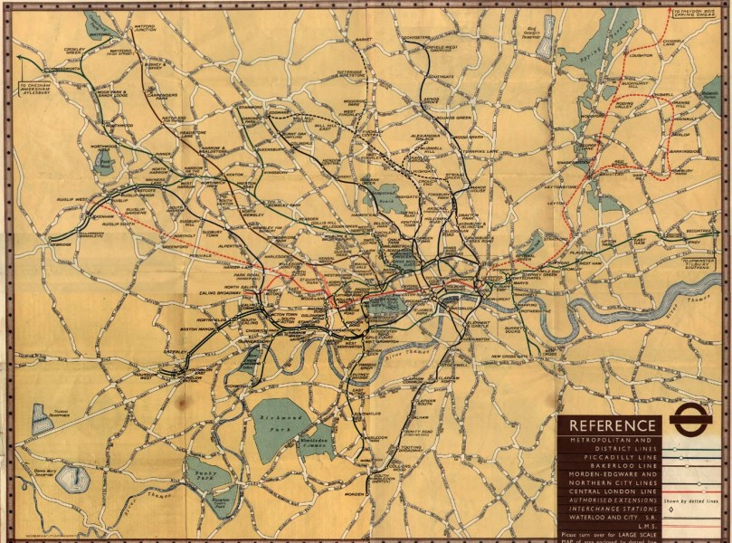 The London Tube Map Archive 1937  Geographical version  Medium  JPG