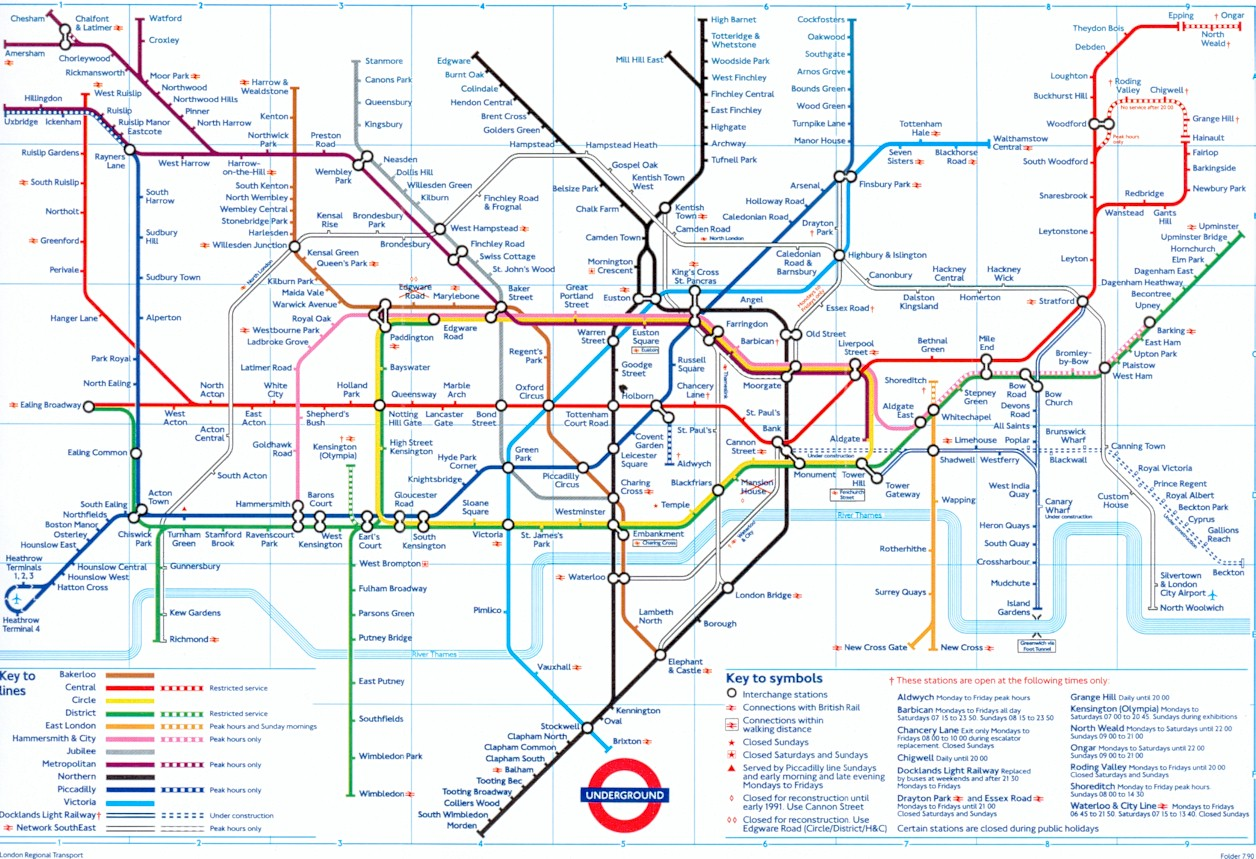 North London Line On Pre Overground Tube Maps