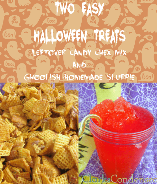 Two quick and easy halloween recipes that are sure to please anyone -- Candy bar Chex Mix and Ghoolish Homemade Slurpie #ClarksCondensed #shop