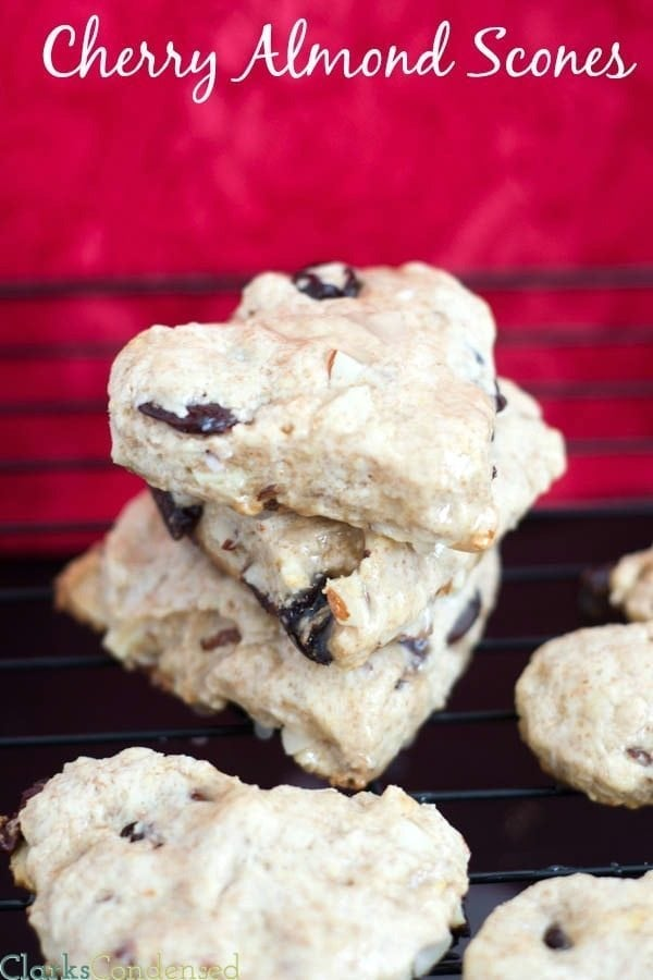Cherry Almond Scones topped with a simple vanilla glaze