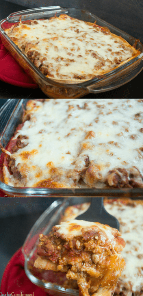 A quick and delicious weeknight meal, this Mexican Taco Lasagna is packed full of flavor, cheese, and is a fun twist on a traditional lasagna.