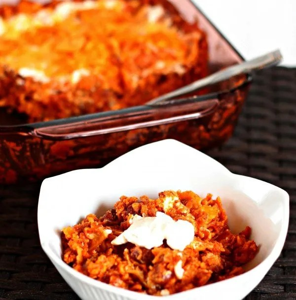 Doirtos Enchilada Casserole -- super easy to throw together and absolutely delicious!